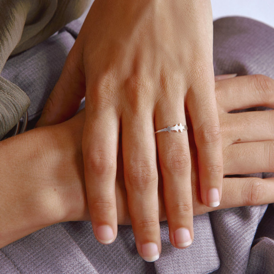 Voice Silhouette Ring White Gold